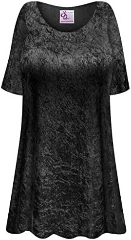Black Crush Velvet Plus Size Supersize Extra Long A-Line Top