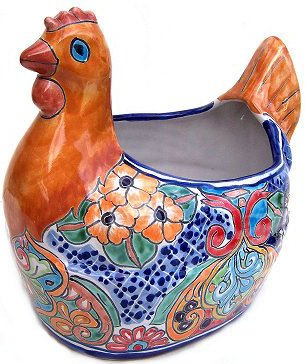 Planter Ceramic Talavera (Multicolor Chicken Talavera Ceramic Planter)