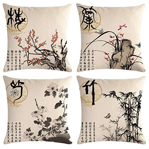 Ink Wash Painting Throw Pillow Cover Plum Blossom Chrysanthemum Orchid Bamboo Cushion Covers Traditional Chinese Calligraphy Culture Home Decorative Pillowcases 18 x 18 inches,4Pack(Wash Painting)