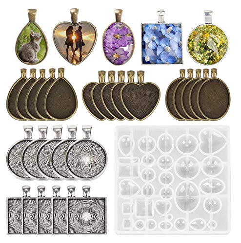 (Fashionclubs 5 Styles Pendant Trays with 1pcs Silicone Resin Jewelry Casting Mold, 30pcs Bezel Trays Pendant Blanks Round Square Heart Teardrop Oval Vintage Pendant Bezel Trays for Photo Jewelry DIY)