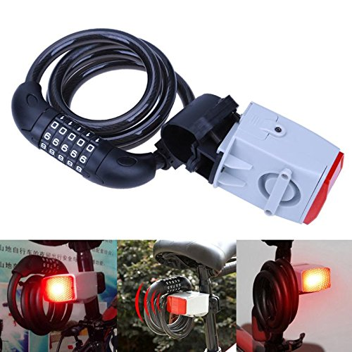 Ponis-Limos - Multifunction Bike Lock Bicycle Warning Lamp Bike Taillight Anti Theft Locks Electric Cable Alarm Safety Protecting Lock Device