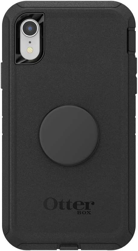 Otter + Pop for iPhone XR: OtterBox Defender Series Case with PopSockets Swappable PopTop - Black and Aluminum Black