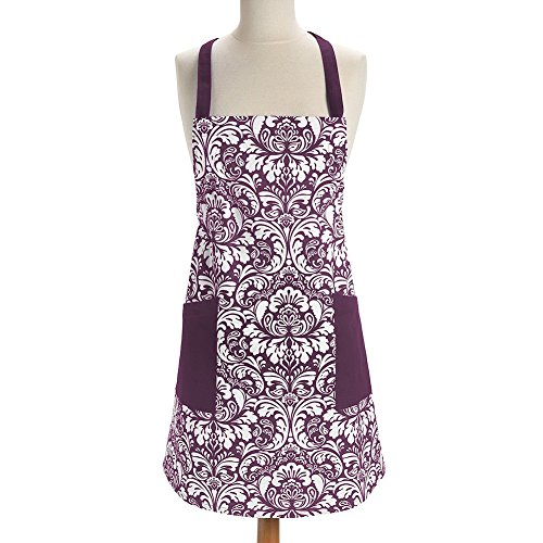Bbq Purple Apron (Newest trent Retro Fashion Printed Damask Women Kitchen Apron, Adjustable Neck Strap & Waist Ties with Front Pockets, Machine Washable, Perfect for Cooking Baking BBQ 100% Cotton (Purple))