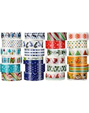 24 Rolls Christmas Washi Tape Set Christmas Holiday Paper Tape Merry Christmas Snowflake Christmas Tree Snowman Gift Pattern Paper Tape for DIY Christmas Cards Scrapbooks Gift Wrapping Craft Projects