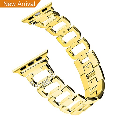 Bling Bands for Apple Watch Band 42mm for Women Men, Hotodeal Metal Replacement Strap for Iwatch Wristband Sport Replacement for Apple Watch, Series 3/ 2/ 1, Nike+, Sport, Edition, Gold