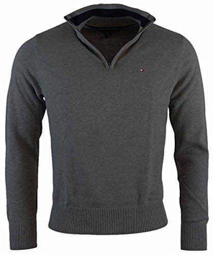 Tommy Hilfiger Mens Half-Zip Mock Neck Sweater (Dark Grey Heather, - Service Customer Tommy Hilfiger