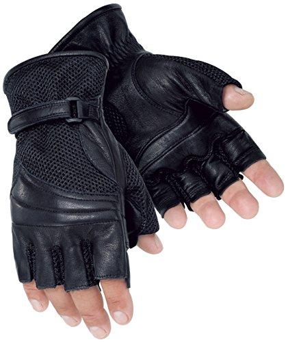 Tour Master Gel Cruiser 2 Fingerless Mens Leather/Textile Cruiser Motorcycle Gloves - Black / 3X-Large