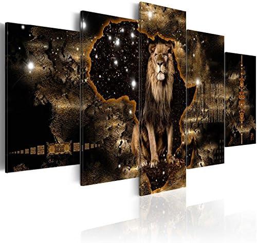 artgeist Handart Canvas Wall Art Africa 225×112 cm / 88.58″x44.3″ 5 pcs Painting Canvas Prints Picture Artwork Image Framed Contemporary Modern Photo Wall Home g-A-0011-b-o