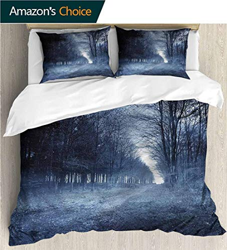 VROSELV-HOME Full Queen Duvet Cover Sets,Box Stitched,Soft,Breathable,Hypoallergenic,Fade Resistant Duvet Cover with Pillowcases Child Bedding Sets,-Halloween Ghostly Haunted Forest (104