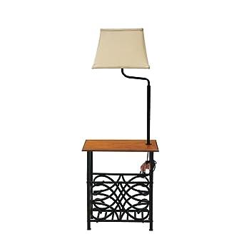 Goodygogo Table With Build In Floor Lamp Magazine Holder Bronze