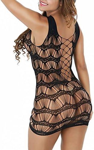 Sexy Damen Minikleid Schwarz Netzkleid Bodysuit Partykleid Clubwear Clubkleid Dessous Babydoll