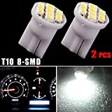 2X Xenon White 8SMD T10 Wedge Dashboard Cluster Gauge Instrument Panel Light 194