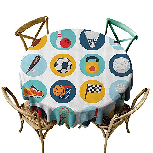 Jbgzzm Washable Table Cloth Sports Decor Collection Sport Icons with Soccer Golf Table Tennis Balls Gloves Skate Shoes Sporty Image Washable Tablecloth D39 Teal Blue Orange Red