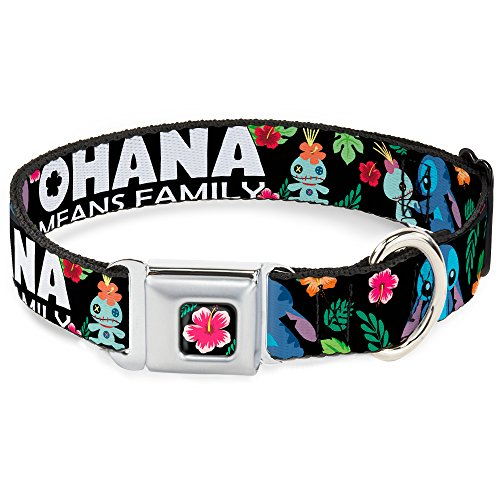 Buckle-Down DC-WDY339-WM DYER Lilo & Stitch Hibiscus Flower Black/Pink Dog Collar, WIDE-Medium/16-23