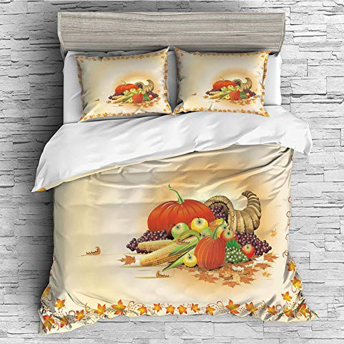 iPrint 4 Pcs Duvet Cover Set Cotton for Bedding Set with Hidden Zipper Closure(Queen Size) Harvest,Maple Tree Frame with Rustic Composition for Thanksgiving Halloween Dinner Food,Multicolor ()