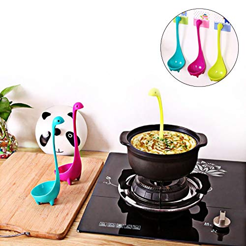 (Ayutthaya shop Creative Dinosaur Plastic Spoon Loch Ness Monster Soup Long Heat-Resistant Tableware.(ramdom)