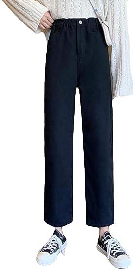AOZUOデニムパンツ レディース 秋 冬 裏起毛 ワイドパンツ ロングパンツ 無地 ジーンズ ハイウエスト 着痩せ ストレートパンツ 通学 通勤 カジュアルパンツ ファッション