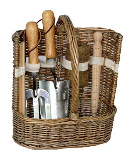 Willow Direct  G020 Antique Wash Deluxe Garden Trug Tool Basket, Brown,36 x 23 x 43cm
