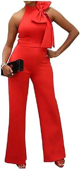 YAXINHE Women's Bowknot Flared Bell Bottom Pants Sleeveless Jumpsuits