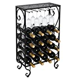 Smartxchoices 16 Bottle Wine Rack with Glass Holder and Tabletop Wine Bottle Holder Storage Rack Kitchen Shelf