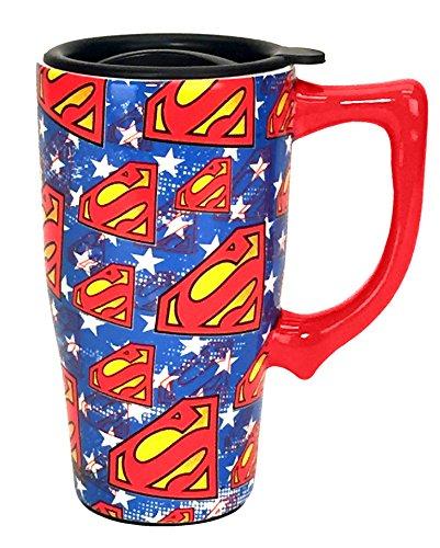 Spoontiques 12753 Superman Logos Travel Mug, Blue
