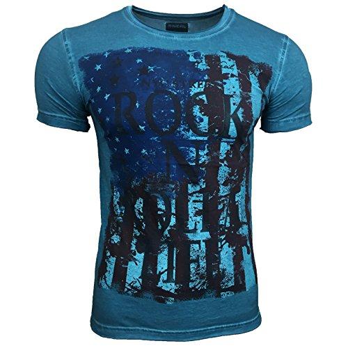 Polo T Shirt Herren Männer Poloshirt Jungs mit Motiv Print Druck Amerika A16534, Größe:XL, Farbe:Petrol