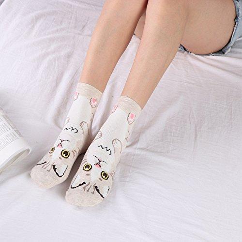 WEILAI Dress 5 Women Girl's Pack 6 Cute Design Color Cartoon SOCKS Funny Socks Cotton Fashion fyyrF