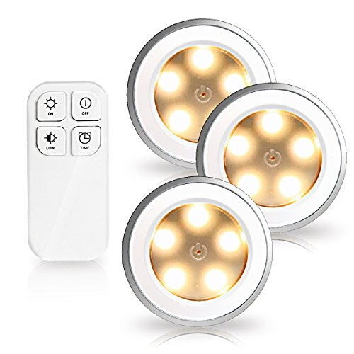Morpilot 3 Pcs Puck light Rechargeable Remote Control Dimmable 5 LED Night Light,Wireless Spot Light ,Stick-On Anywhere Tap Lights for Cabinets Closets,Attics, Garages, Car, Sheds, Storage Room Silver (3 Pcs with Remote)
