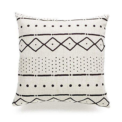 Mudcloth Print - Hofdeco Decorative Throw Pillow Case African Mud Cloth Print Bogolan Pattern Heavy Weight Fabric Cushion Cover 18x18 Inches