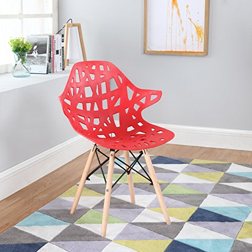 Modern Set of 2 Hollow-Out Style Chair with Natural Wood Leg