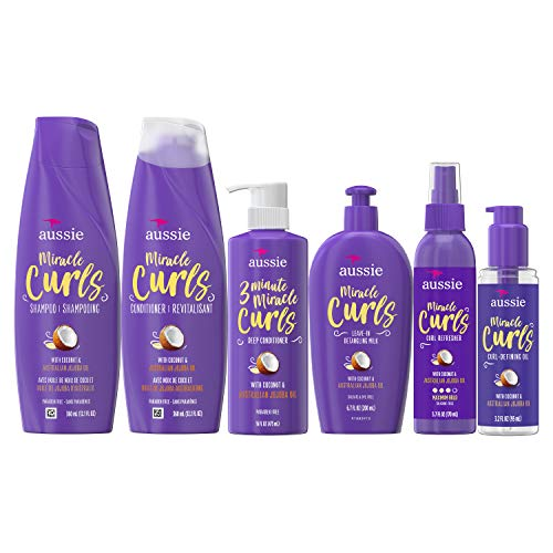 Aussie Aussie Miracle Curls Collection: Shampoo, Conditioner, Deep Conditioner, Spray Gel, Detangling Milk, and Oil Hair…