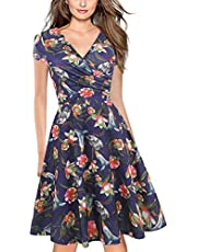oxiuly Women's Vintage V-Neck Cap Sleeve Floral Casual Cocktail Party Swing Dress OX233
