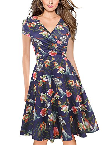 (oxiuly Women's Criss-Cross Necklines V-Neck Cap Sleeve Floral Casual Work Stretch Swing Summer Dress OX233 (XL, Blue purpleF))