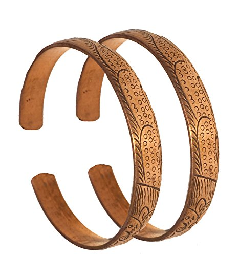 Hand Forged 100% Copper Bracelet ~ Made with Solid and High Gauge Pure Copper ~ Effectively Relief of Joint Pain, Arthritis, Joint Inflammation and Skin Allergies. (Set of 2, Dragon Embossed)