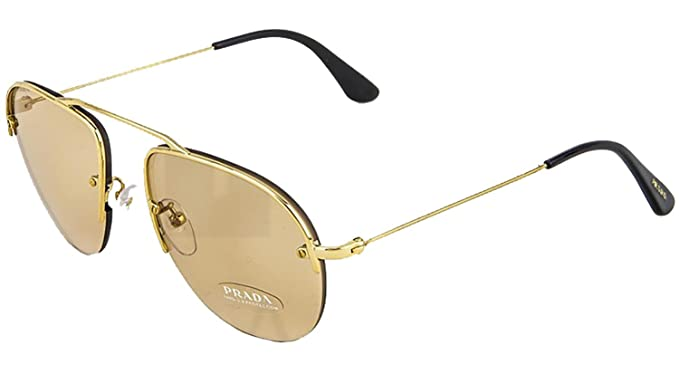 43ae102d933c5 Amazon.com  PRADA TEDDY PR58OS Aviator Gold Orange Rimless 5AK-9N1 ...