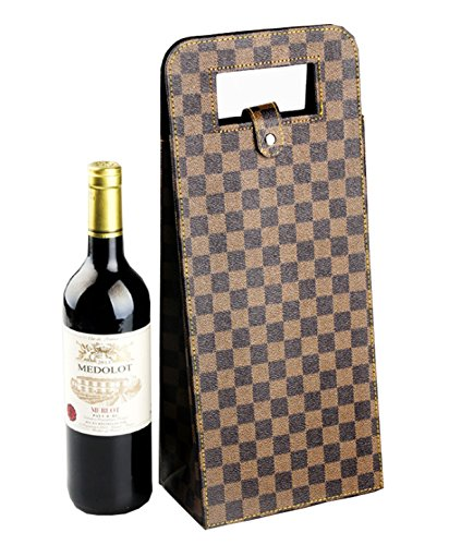 Yunko 2 Bottle Upscale Leather Wine Bottle Protector Wine Tote Carrier Bag Reusable Gift Bag Single Wine Champagne Bottle Carrier Case]()