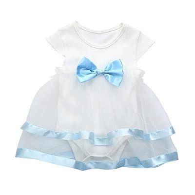 Smileq bébé Princesse Barboteuse Robe Filles Infant anniversaire Tutu Jupe Nœud Vêtements de fête JumpSuit robes
