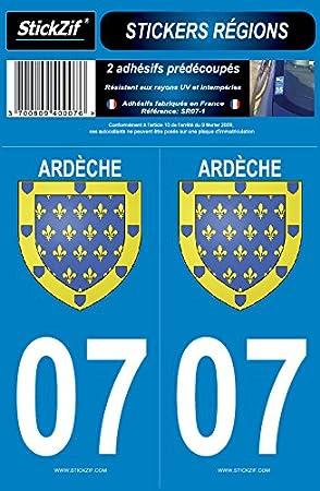 Stickzif Sr07 1 2 Kleber Aufkleber Region Departement 07 Ardèche Set 2 Auto