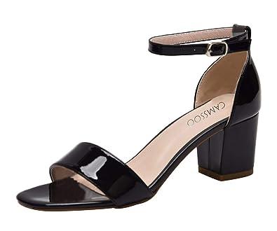 9d7649c2e07c CAMSSOO Women s Open Buckles Chunk Low Heel Pump Sandals Black Patent PU  Size US6 EU36