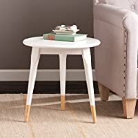 Courtney White Rubberwood Round Side Table
