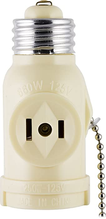 GE Socket Adapter, Pull Chain Control, Polarized, 2-Prong Outlet, Perfect for Workshop, Garage or Utility Room, UL Listed, Light Almond, 54180