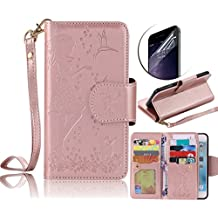 Galaxy I9600 case, Samsung Galaxy S5 wallet case, Sunroyal [Wristlet] [9 CARD HOLDER] Ultra Thin Magnetic Detachable PU Leather Folio Flip [Cosmetic Mirror] Wrist Strap Case Screen Protector Rose Red