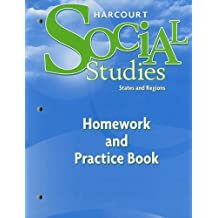 Amazon harcourt school publishers books harcourt social studies homework and practice book student edition grade 4 states and regions fandeluxe Images