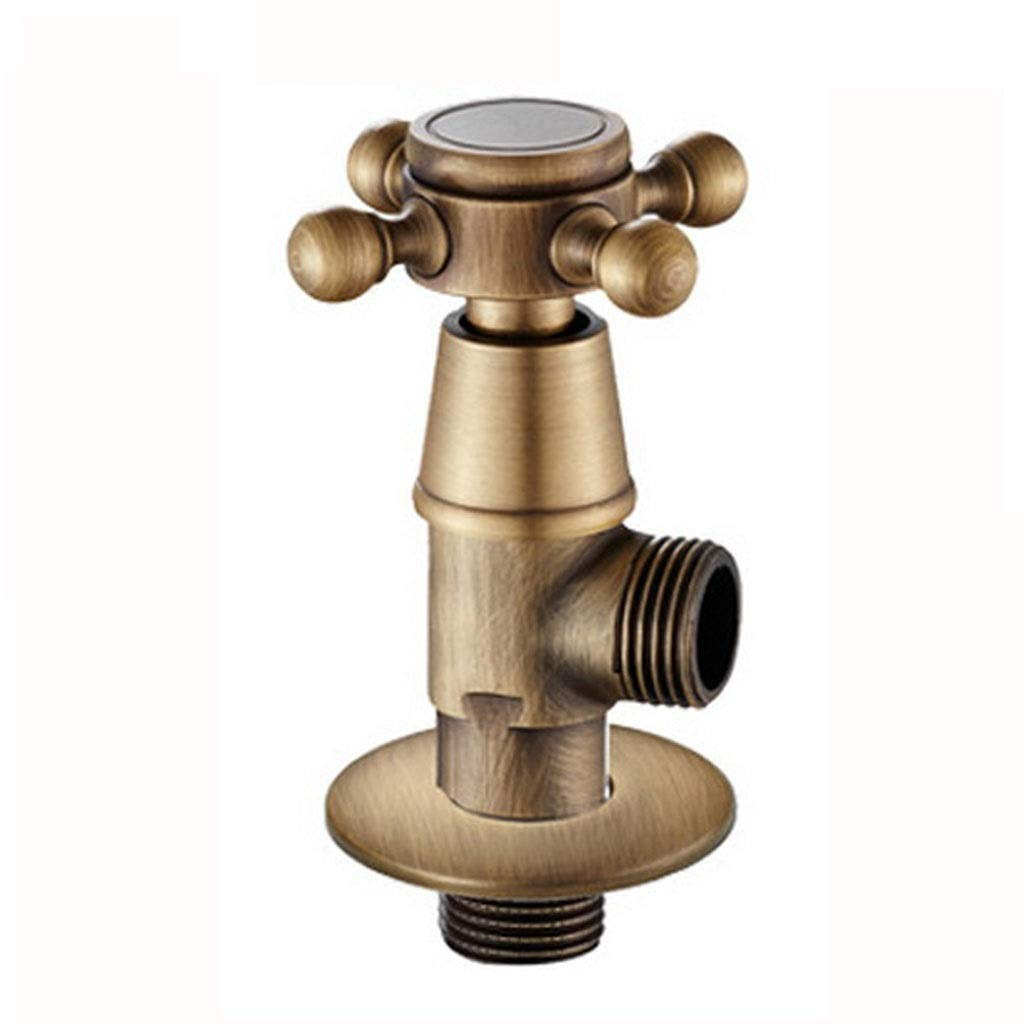 MCLYJ Universal Triangle Valve, Retro Washing Machine Faucet G1/2 Thickening Switch Water Stop Valve 4 Points Snap Connector (Color : Brass)