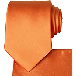 KissTies Orange Tie Pumpkin Satin Wedding Ties + Pocket Square
