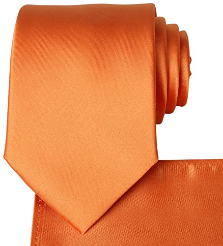 (KissTies Orange Tie Pumpkin Satin Wedding Ties + Pocket Square)