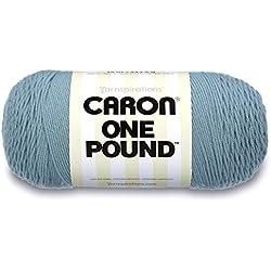 Caron One Pound Solids Yarn - (4) Medium Gauge 100% Acrylic - 16 oz - Azure- For Crochet, Knitting & Crafting
