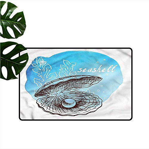Door mat Pearls Clam Seashell and Seaweed Suitable for Outdoor and Indoor use W31 xL47