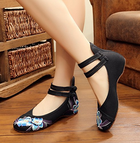 AvaCostume Womens Embroidery Rubber Sole Summer Wedges Sandals Fashion Dress Shoes for Cheongsam Black k3g8p4pL