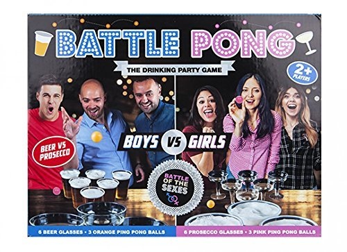 Battle Pong 18pc Adults Drinking Party Game Beer vs Prosecco Battle of The Sex's PMS 619091PMS